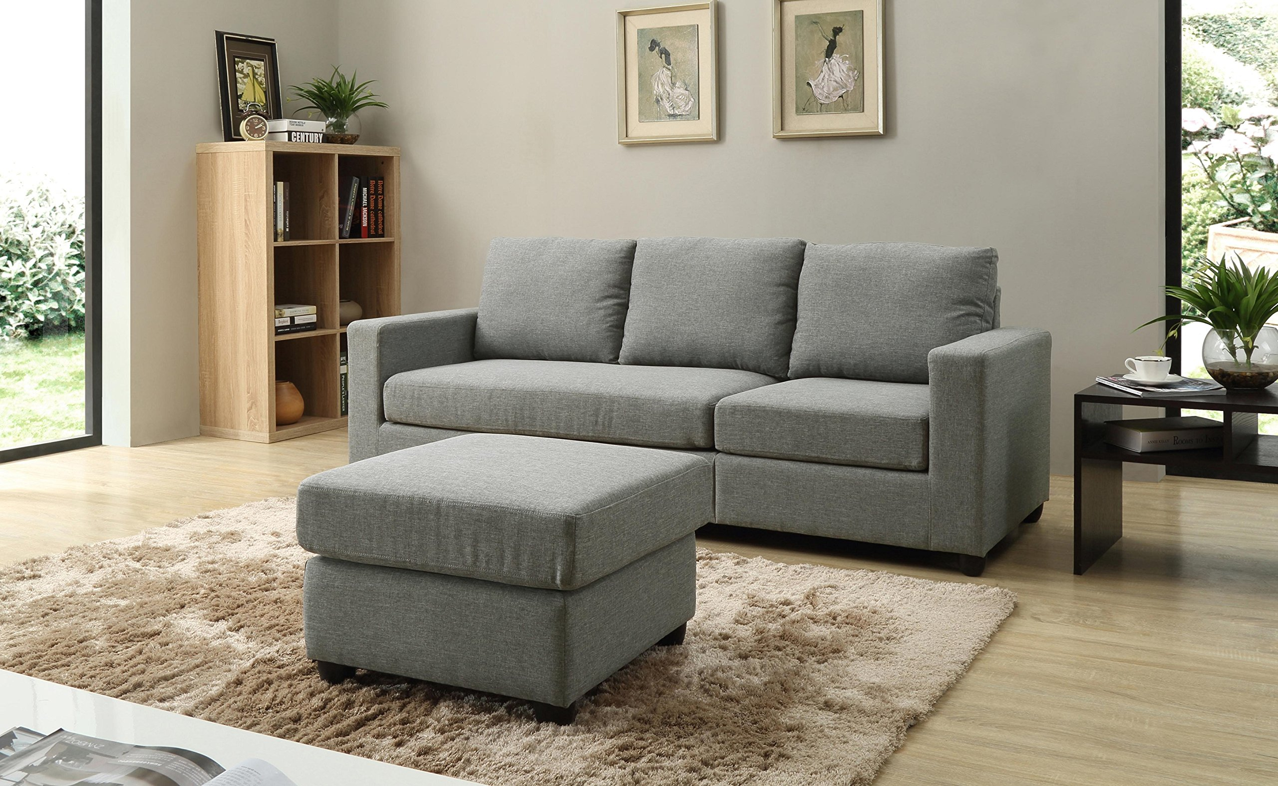 Nice NHI Express Alexandra Convertible Sectional Sofa, Grey