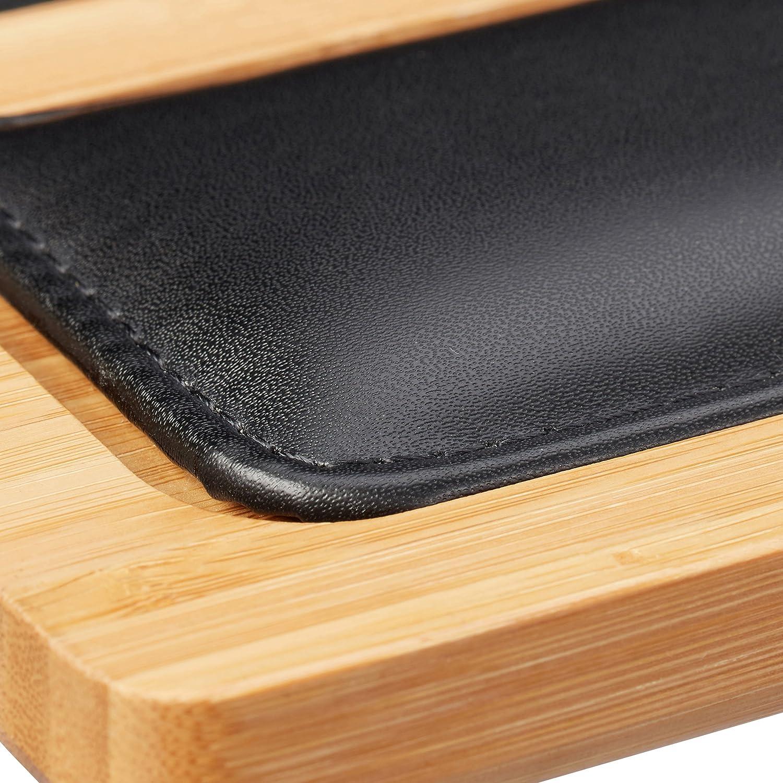 Relaxdays Laptoptisch Smartphone Halterung Laptop Unterlage 2 Mousepads Natur Bambus BxT: 60 x 40 cm Knietablett
