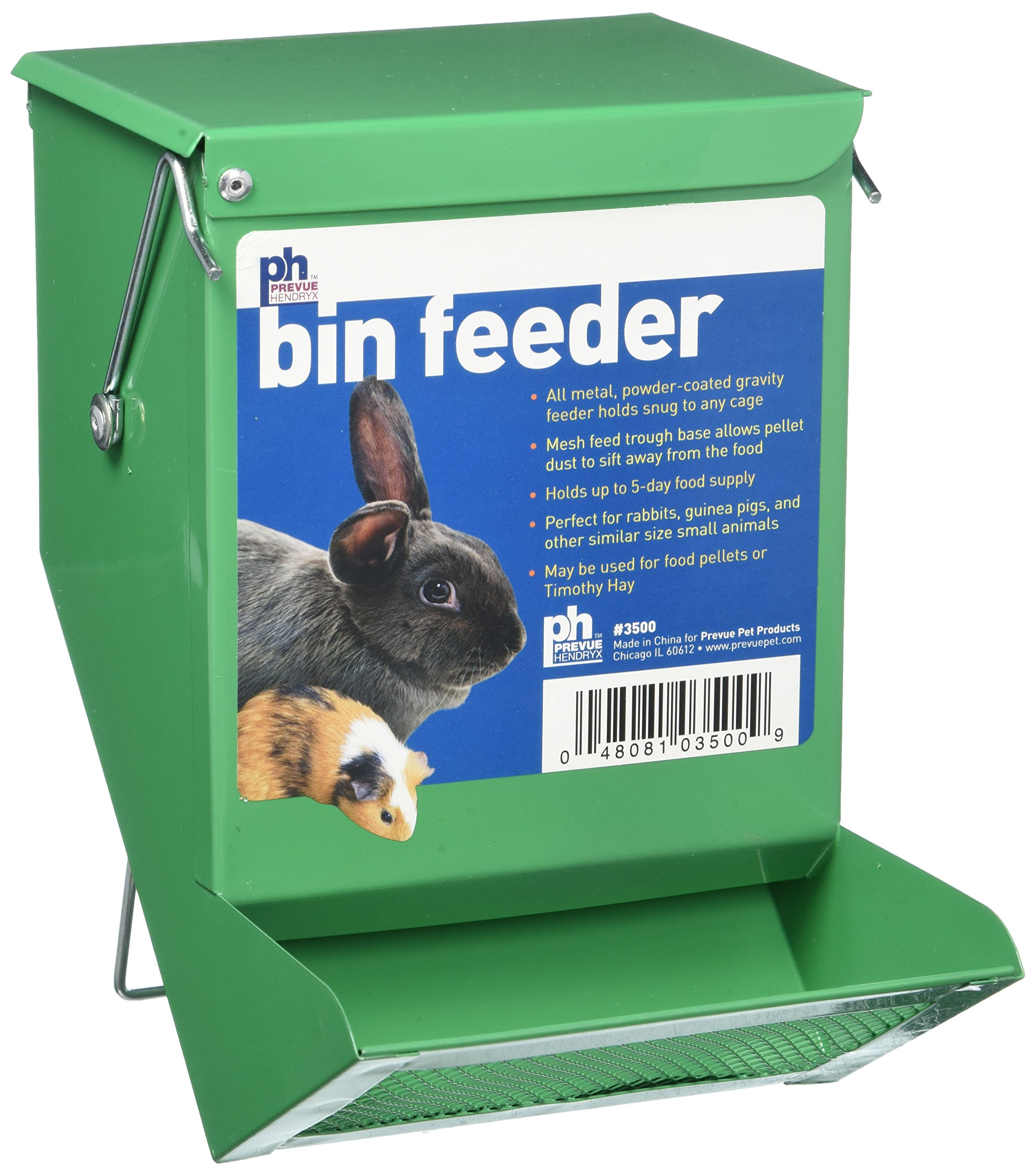 Prevue Pet Products SPV3500 Metal Small Animal Bin Feeder, Green