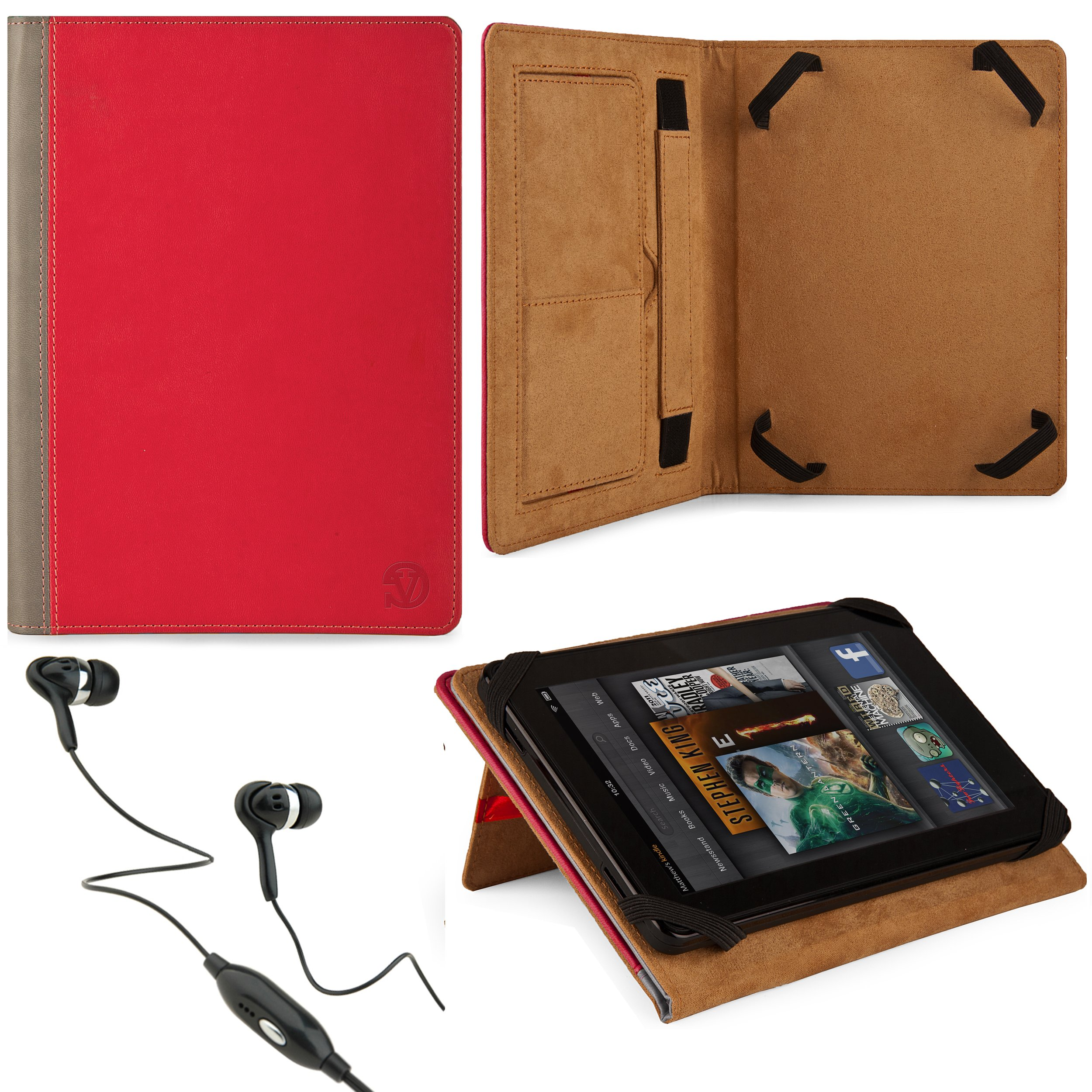 Marry Edition VG Brand Folio Stand Alone Protective Leatherette Carrying Case Cover Case Cover-(2 Tone Pink & Gray) for Samsung Galaxy Tab 7.0 Plus / Samsung Galaxy Tab 7.7 Android Tablets + Black Handsfree Hifi Noise Isolating Stereo Headphones with Wind