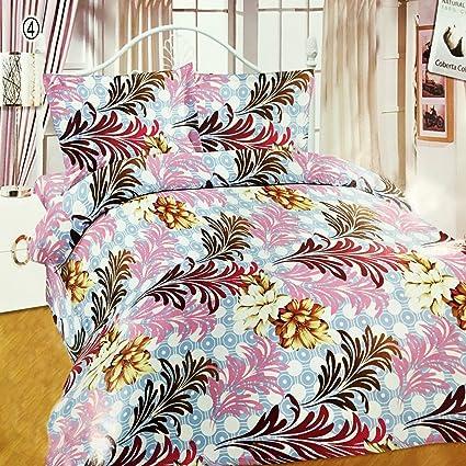 Impeccable Home Poly Cotton 3D Designer Printed 120TC Double Bedsheet with 2 Pillow Covers (228x228cm, Multicolour)