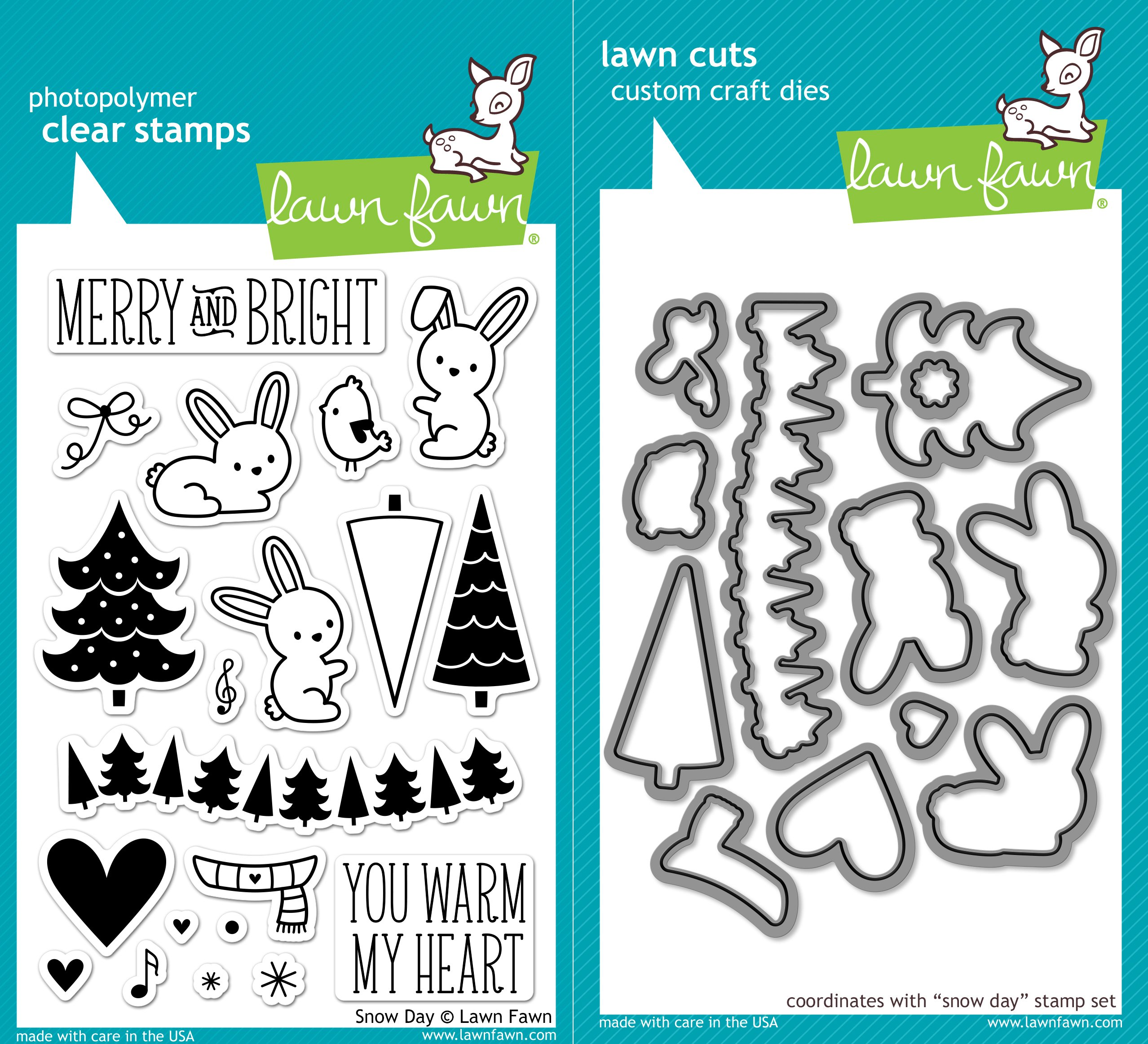 Lawn Fawn Snow Day Clear Photopolymer Stamps Bundle with Coordinating Lawn Cuts Dies LF723 LF724