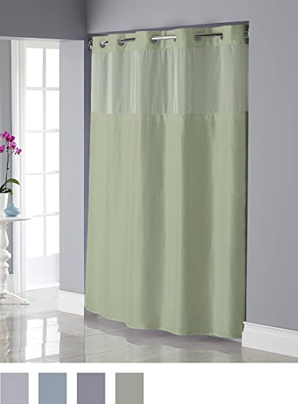 Hookless RBH34MY838 Shiny Texture Herringbone Shower Curtain With Snap In  PEVA Liner   Sage Green