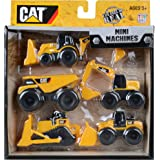 Cat Mini Machines - 5 Toy Vehicle Playset - Digger Dump Truck Bulldozer Backhoe Excavator
