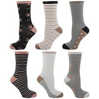 Pack de 6 calcetines Tom Franks, de mujer, de diseño, algodón, talla única