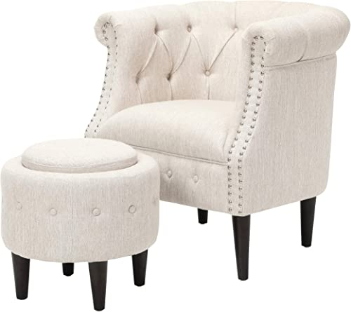 Leila Petite Tufted Fabric Chair and Ottoman Set - the best ottoman chair for the money