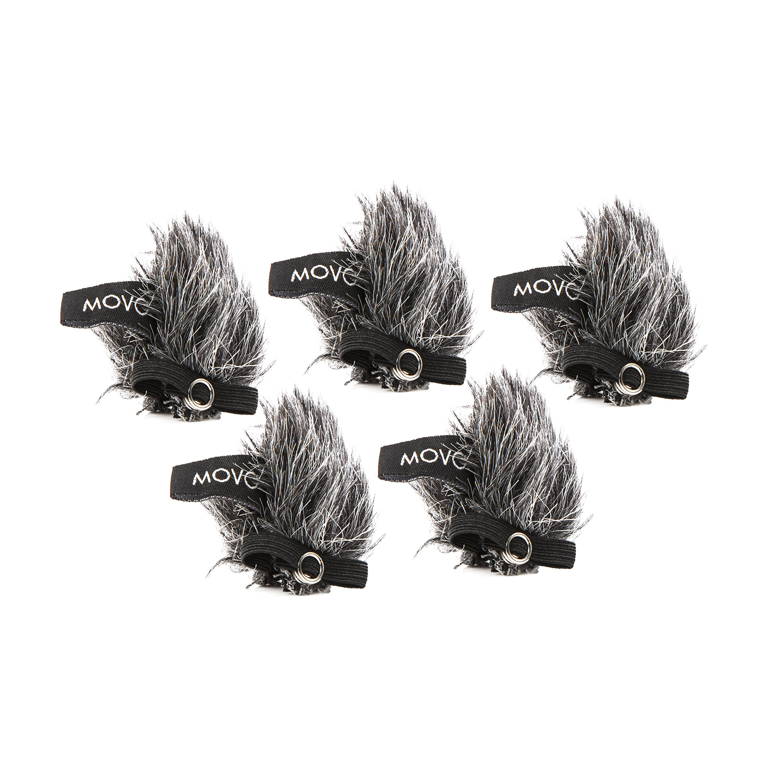Movo WS-G10m Universal Furry Outdoor Microphone Windscreen Muff for All Lavalier Microphones Including, Shure, Rode, Sony, Audio-Technica and More! (5 PACK) - Dark Gray
