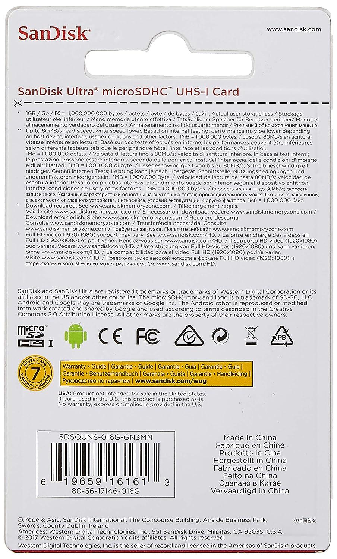 Tarjeta de Memoria SanDisk Ultra Android microSDHC de 16 GB con ...
