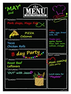 "Magnetic Refrigerator Chalkboard Dry Erase Weekly Menu Meal Planner Organizer Note Area for Shopping List Fitness Diabetic Meal Prep Planning One Calendar Week 12"" X 16"" Fridge Black Fluorescent Board"