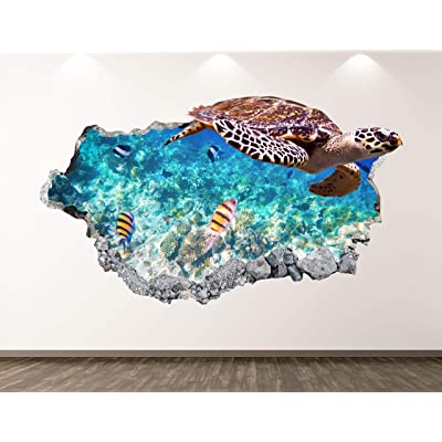 """West Mountain Turtle Wall Decal Art Decor 3D Smashed Ocean Animal Sticker Poster Kids Room Mural Custom Gift BL292 (22"""" W x 14"""" H): Home & Kitchen"""