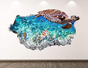 West Mountain Turtle Wall Decal Art Decor 3D Smashed Ocean Animal Sticker Poster Kids Room Mural Custom Gift BL292 (22