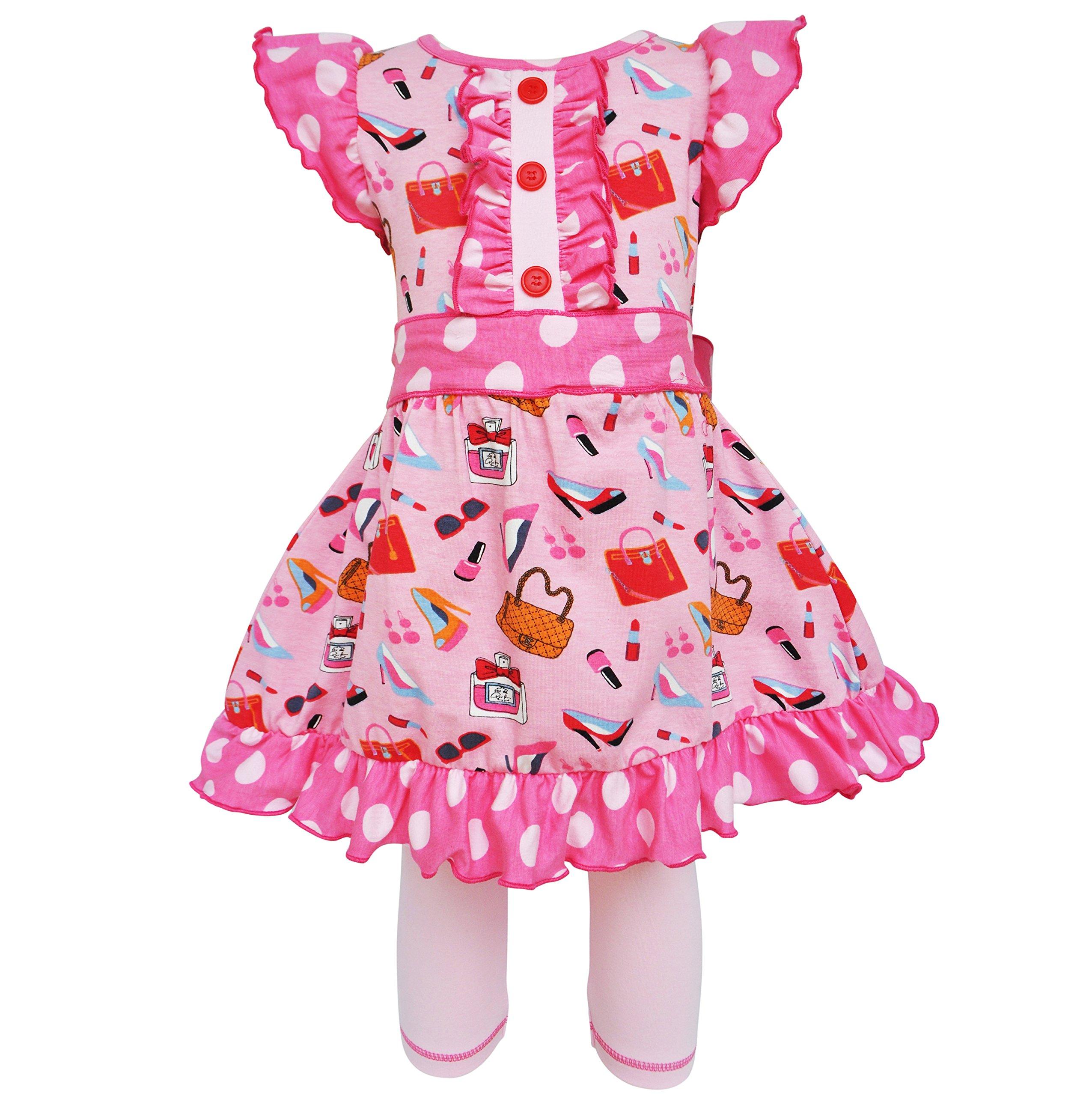 AnnLoren Girls sz 7/8 Cotton Makeup Accessories Dress & Legging Outfit