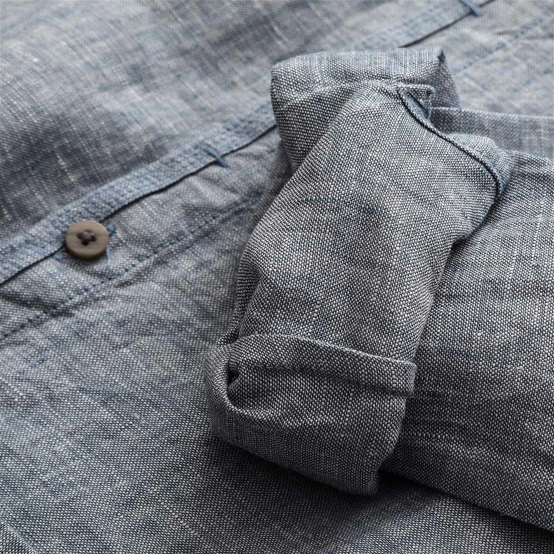 Liveinu Mens 98/% Linen Shirts Long Sleeve Button-Down Casual Shirts Regular Fit
