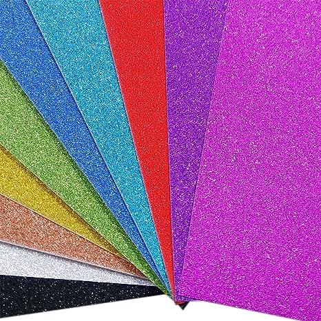 Fogli Glitterati Carta Glitter Cartoncini Scrapbooking A4 10 Pz