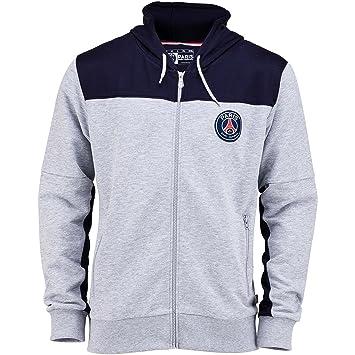 Paris Saint Germain - Sudadera oficial de PSG con capucha y cremallera para hombre adulto, Hombre, gris, large: Amazon.es: Deportes y aire libre