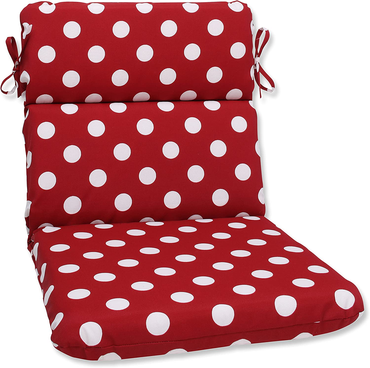 "Pillow Perfect Outdoor/Indoor Polka Dot Round Corner Chair Cushion, 40.5"" x 21"", Red"