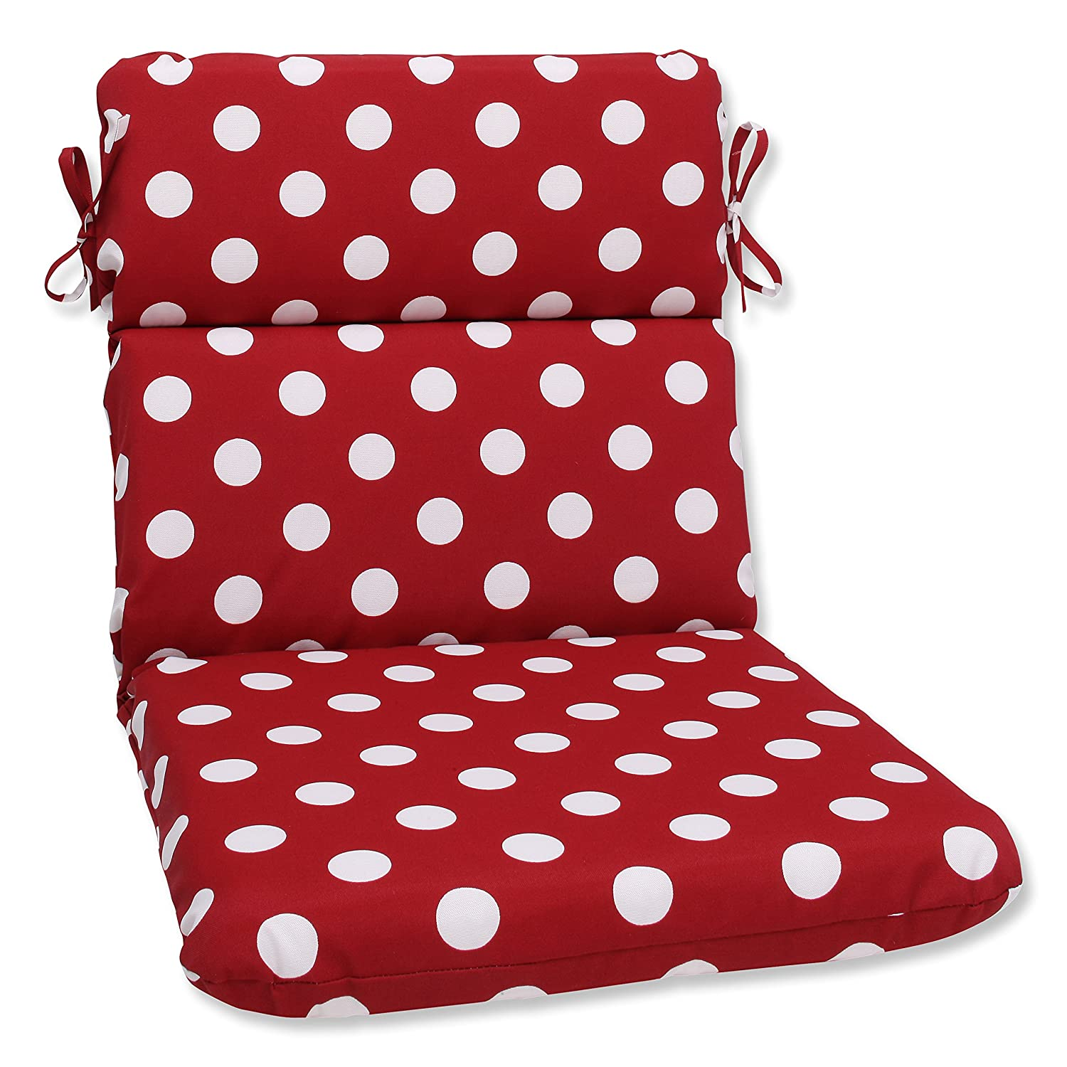 Pillow Perfect Indoor Outdoor Red White Polka Dot Chair Cushion, Rounded