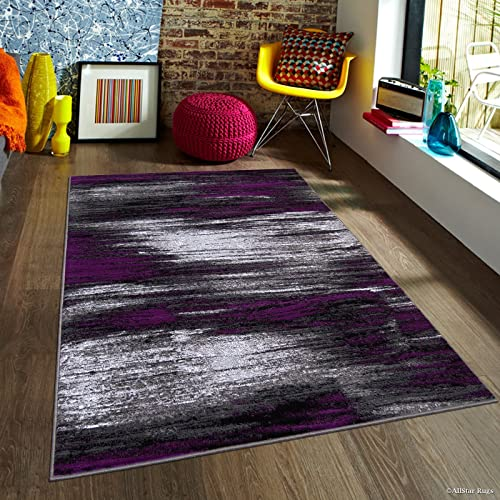 Allstar 8×10 Grey and Gainsboro Grey Modern and Contemporary Rectangular Accent Rug with Purple Abstract Brush Stroke Design 7 9 X 9 8