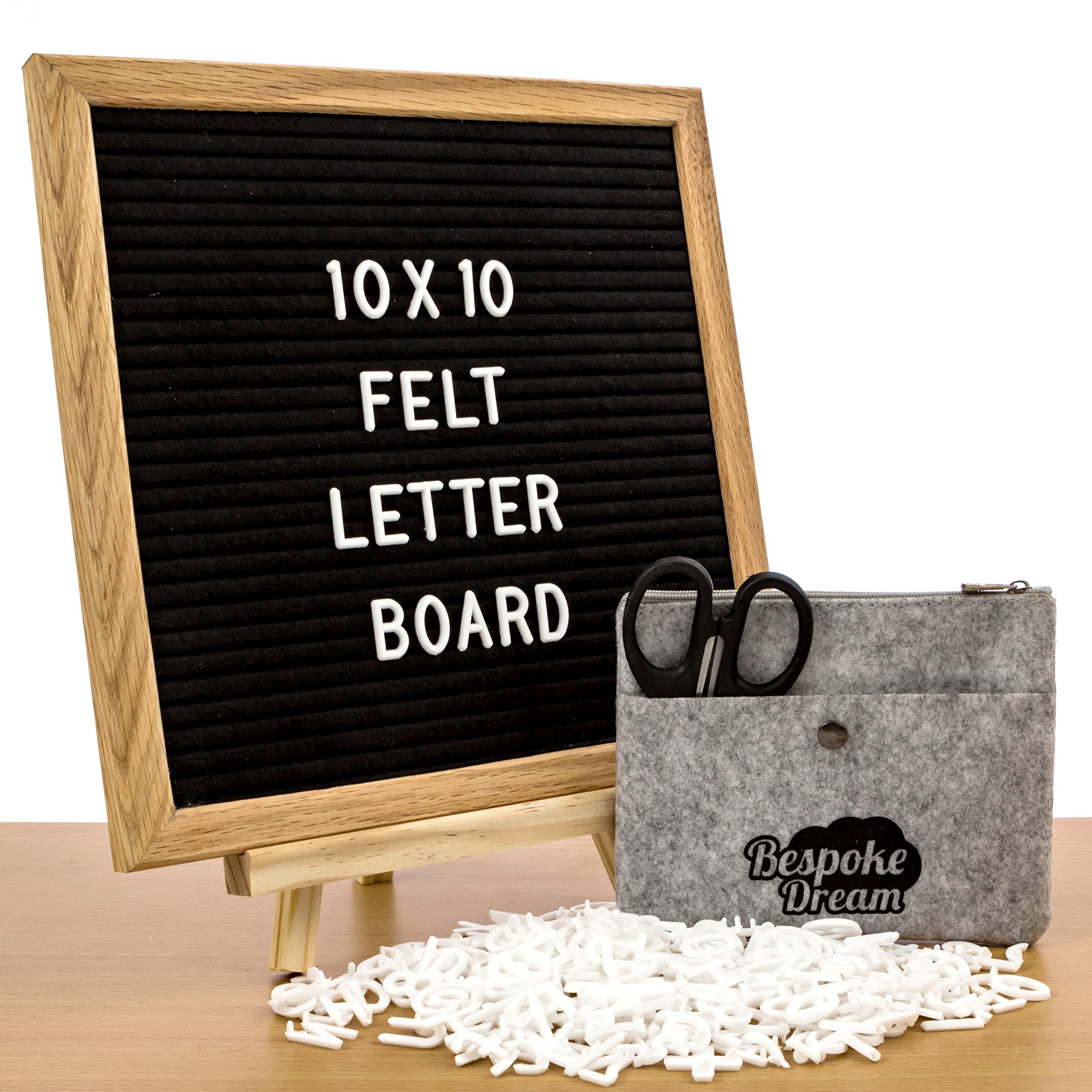 Premium Changeable Letter Board SET 10 x 10 Inches with Black Felt, Real Wood Frame with Wood Stand. 360 White Letters, Numbers, Emojis. BONUS Felt Storage Bag, Scissors, eBook of Motivational Quotes