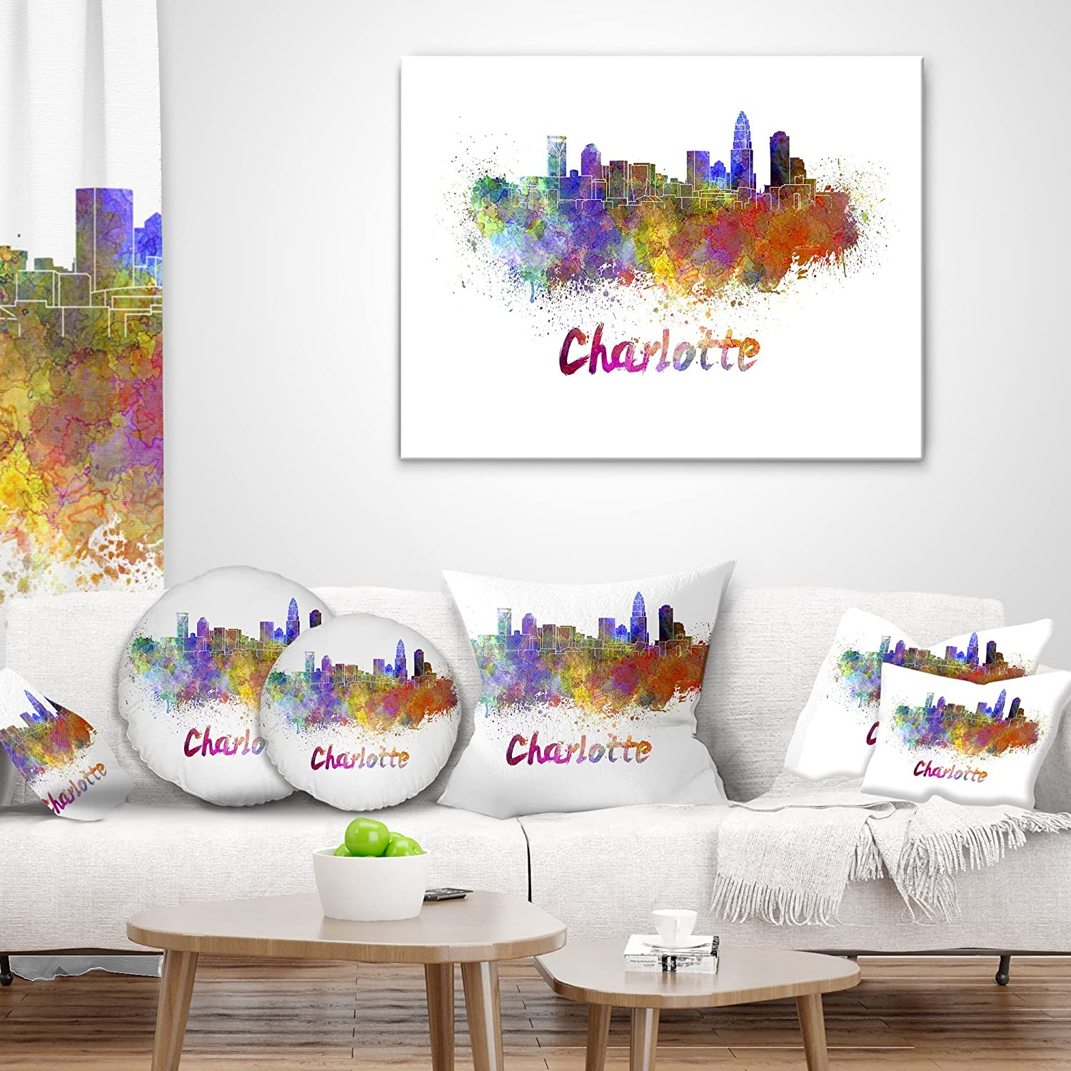 x 18 in Sofa Throw Pillow 18 in Designart CU6580-18-18 Charlotte Skyline Cityscape Cushion Cover for Living Room in