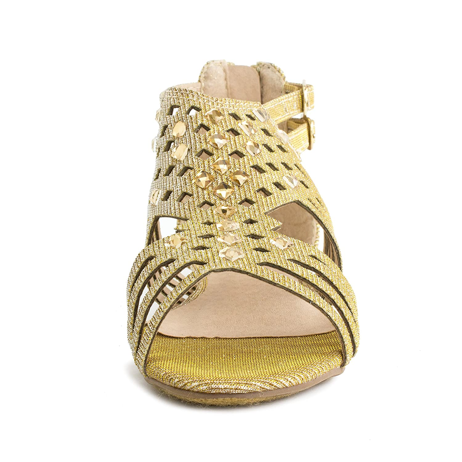 Bellar53K Link Girls Stud Zipper Gladiator Flat Sandals Toddler//Little Kid//Big Kid