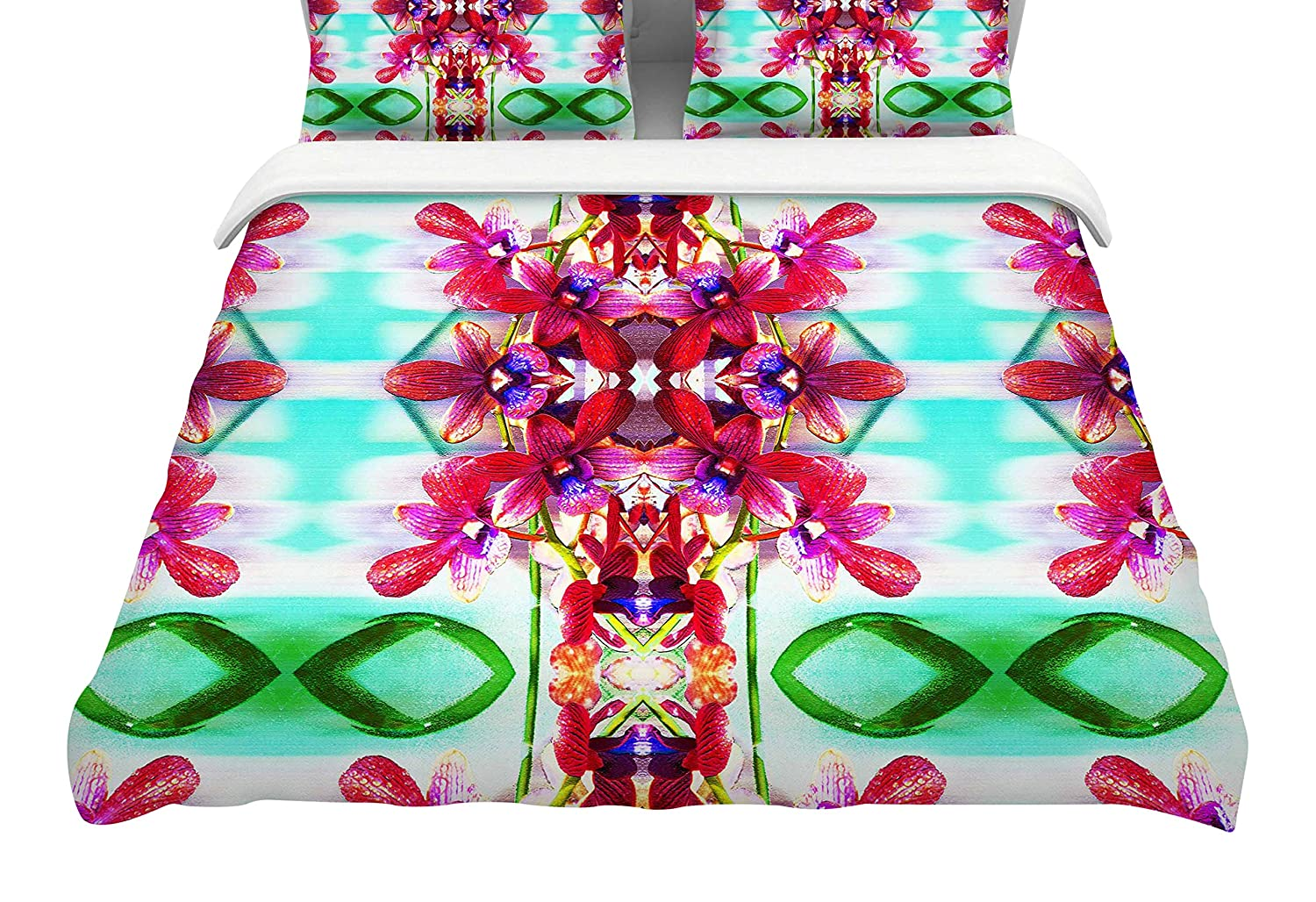 88 x 88, Kess InHouse Dawid ROC Tropical Floral Orchids 2 Featherweight Queen Duvet Cover