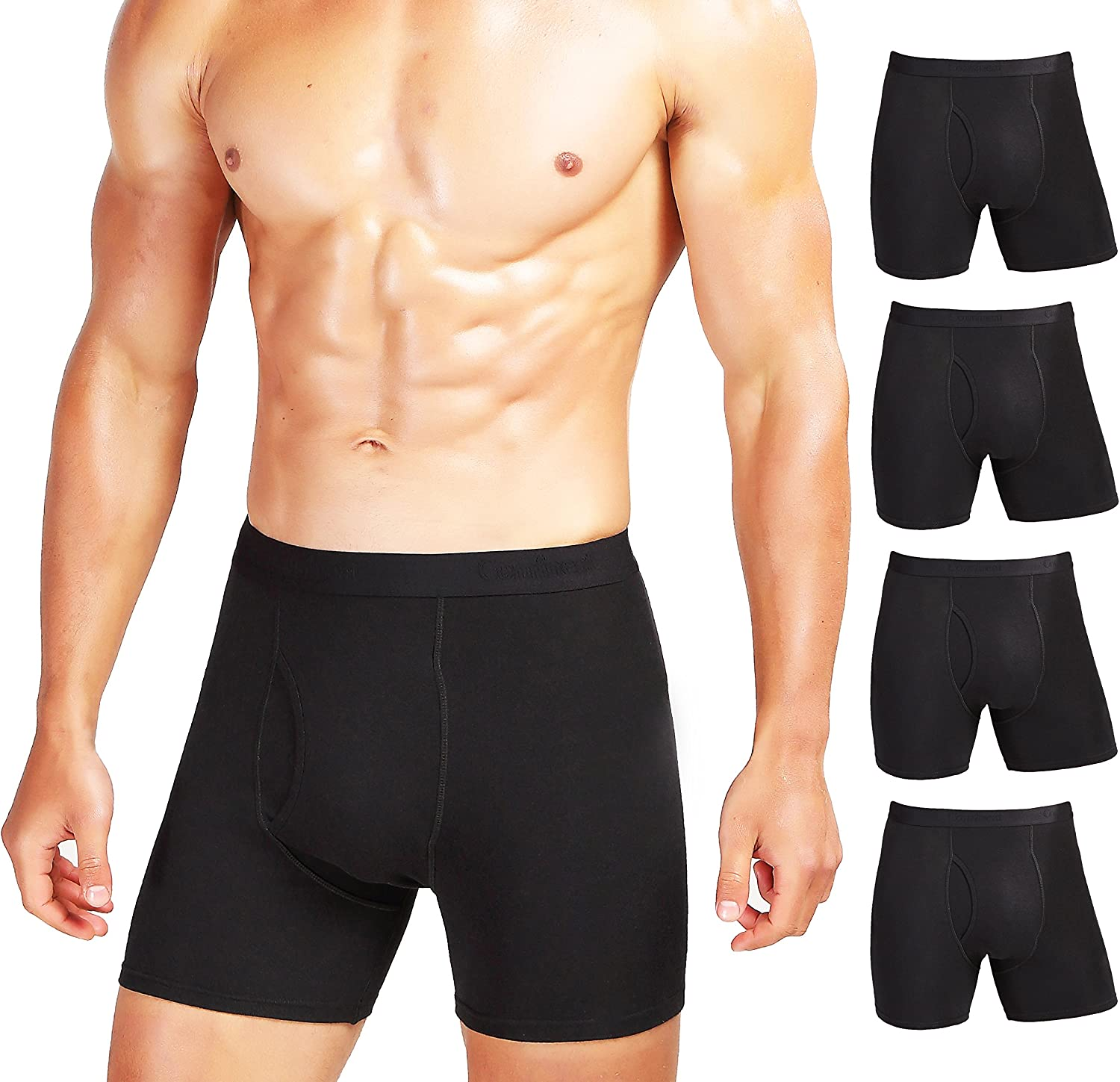 Comfneat Mens 5 or 7-Pack Boxer Briefs Cotton Spandex Tagless Comfy Underwear Black 5-Pack, S