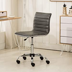 Roundhill Furniture OF1011GY Fremo Chromel Adjustable Air Lift Office Chair in Grey