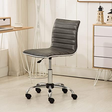 Roundhill Furniture OF1011GY Fremo Chromel Adjustable Air Lift Office Chair in Grey,