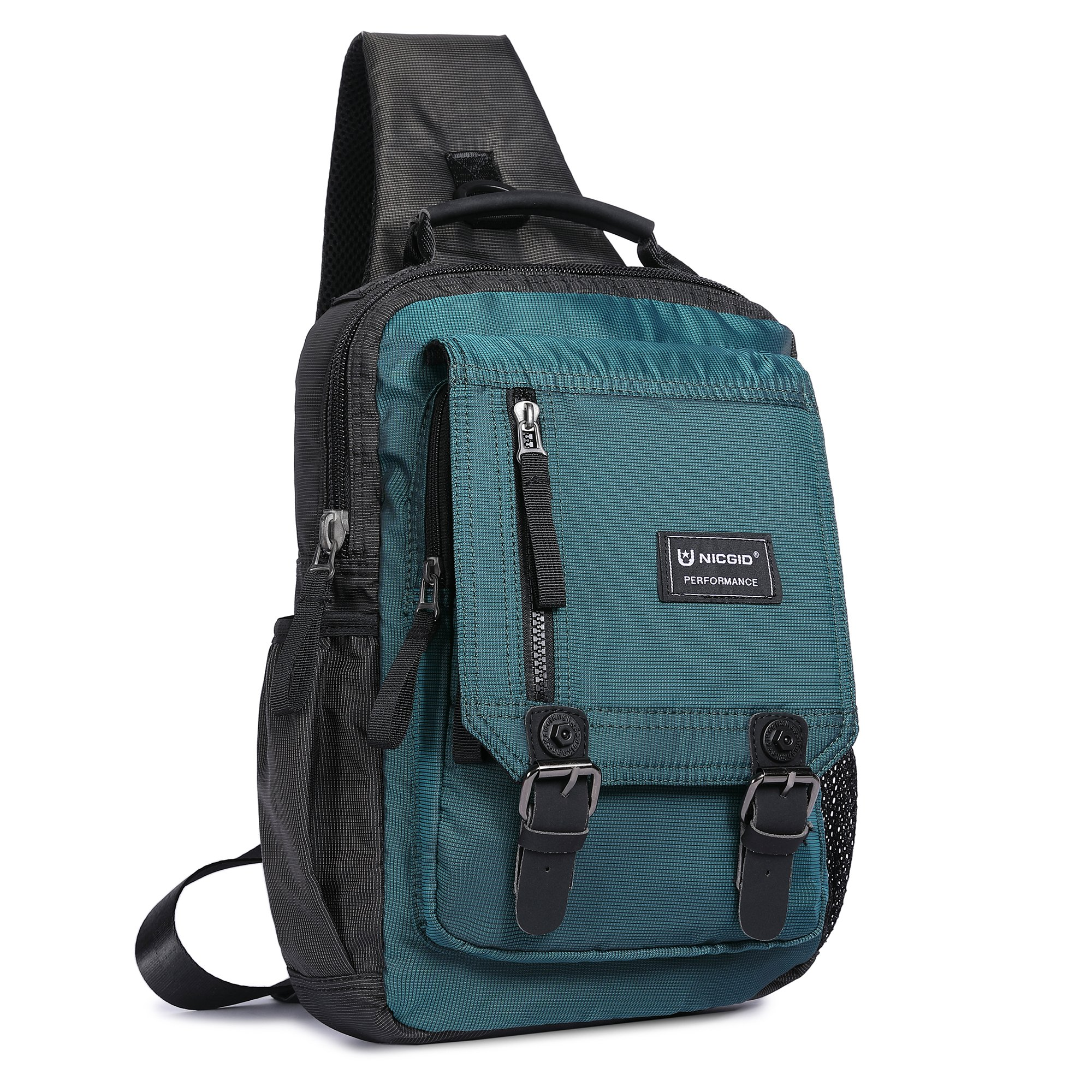 Sling Bag Cross Body Messenger Bag One Strap Backpack Travel Shoulder Bag for Laptop Tablet iPad Outdoor Hiking (Dark Green)