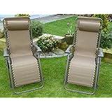 SET OF 2 Brown Garden Sun Lounger Relaxer Recliner Garden Chairs Weatherproof Textoline Folding And Multi Position With A Headrest
