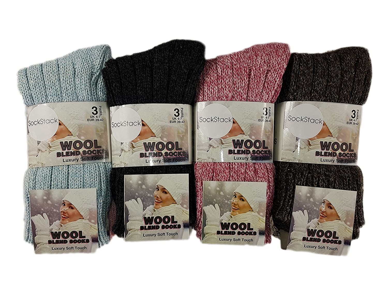 Thermal Heavy Duty Work Boot Socks,4-7 12 Pairs Of Women Chunky Long Wool Socks