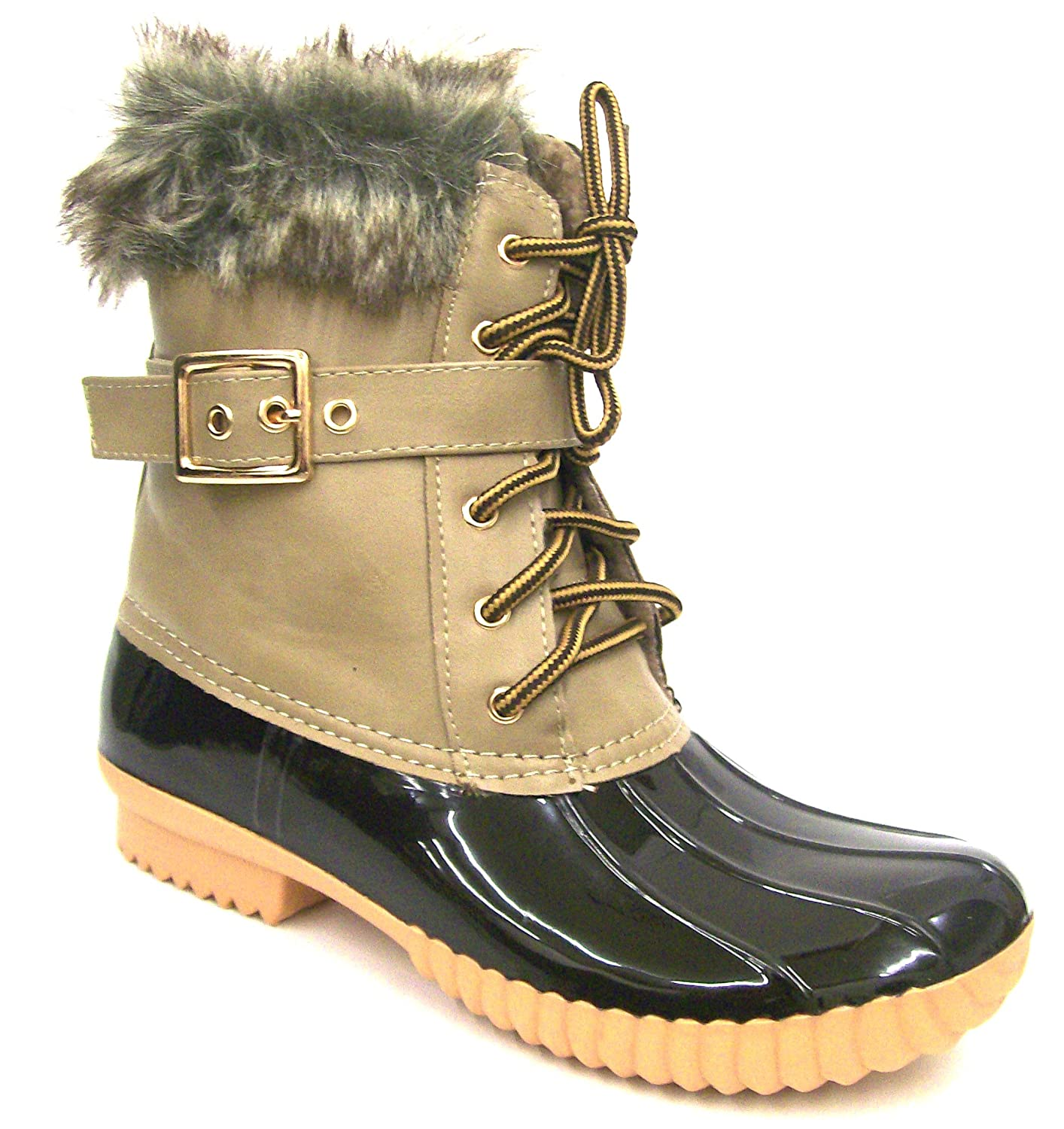 Nature Breeze Duck-01 Women's Chic Lace up Buckled Duck Waterproof Snow Boots B01M3X5CDP 6 B(M) US|Taupe