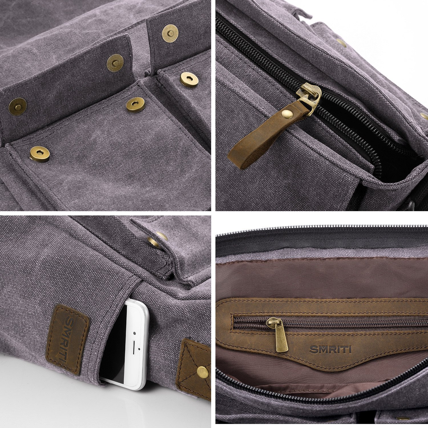 bd37152e61 SMRITI 17.3 16 Inch Canvas Messenger Shoulder Bag Laptop Crossbody Men Work  Book Shool Bag -