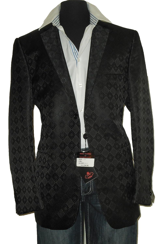 Leonardi 902 Mens Designer Dinner Jacket Fitted Look Black Gloss Diamond Pattern