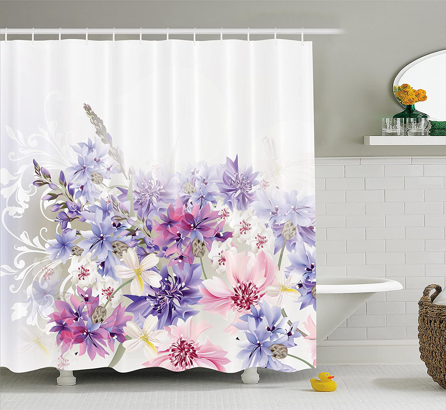 Amazon.com: Lavender Shower Curtain Set by Ambesonne, Pink Purple ...