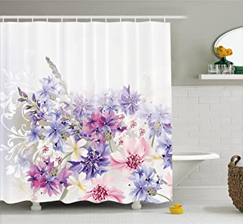 Ambesonne Lavender Shower Curtain Set Pink Purple Cornflowers Bridal Classic Design Gentle Floral Art Wedding