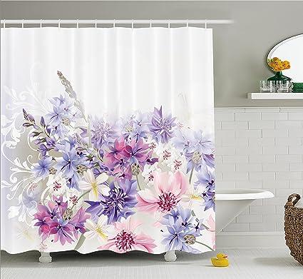 Lavender Shower Curtain Set By Ambesonne Pink Purple Cornflowers Bridal Classic Design Gentle Floral Art