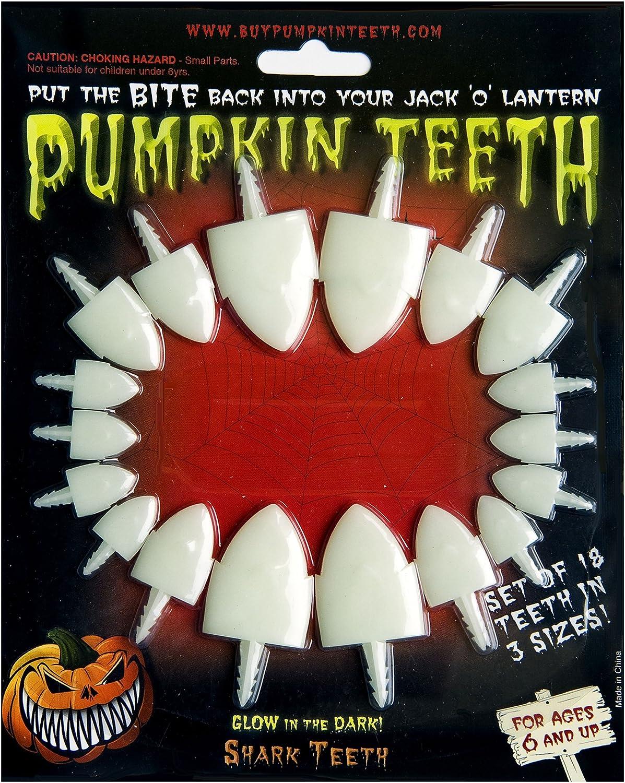Halloween Pumpkin Carving Kit - Pumpkin Teeth for your Jack O' Lantern - Set of 18 Glow in the Dark Shark Teeth