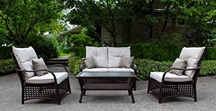 Sol Siesta Clubhouse Collection 4 Piece Conversation Set of Resin Wicker Patio  Furniture, Brown - Amazon.com: Sol Siesta Clubhouse Collection 4 Piece Conversation Set