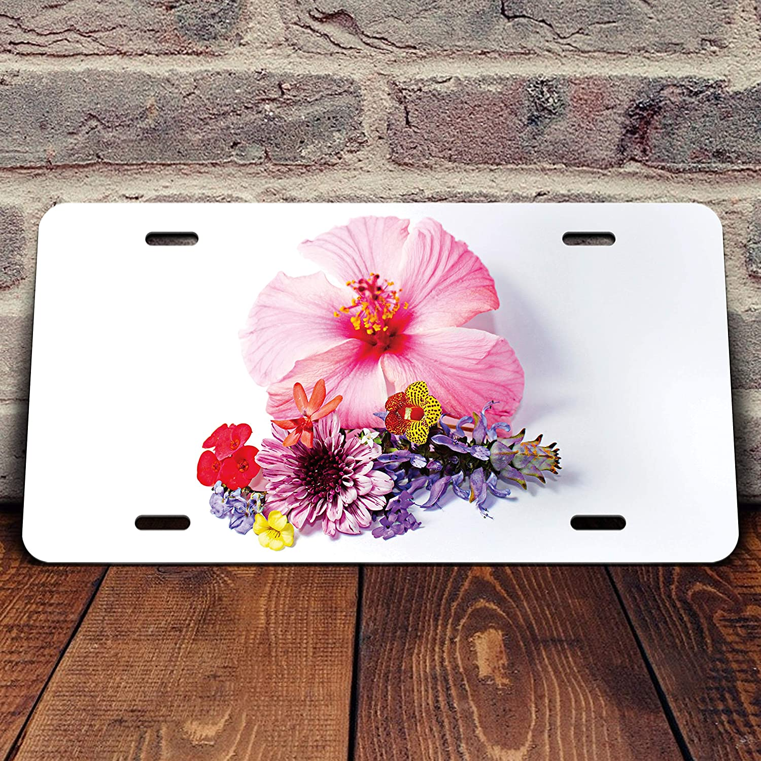 Hibicus Flower with Bouquet Vanity Front License Plate Tag Printed Full Color KCFP070 KCD