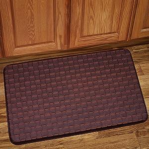 "Sweet Home Collection Memory Foam Anti Fatigue Kitchen Floor Mat Rug, Playa Mocha, 30"" x 18"""