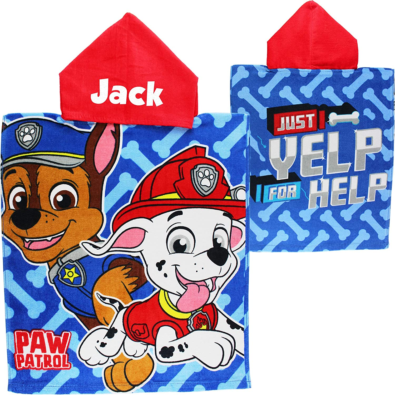TeddyTs Personalised PAW Patrol Chase and Marshall Hooded Poncho Towel