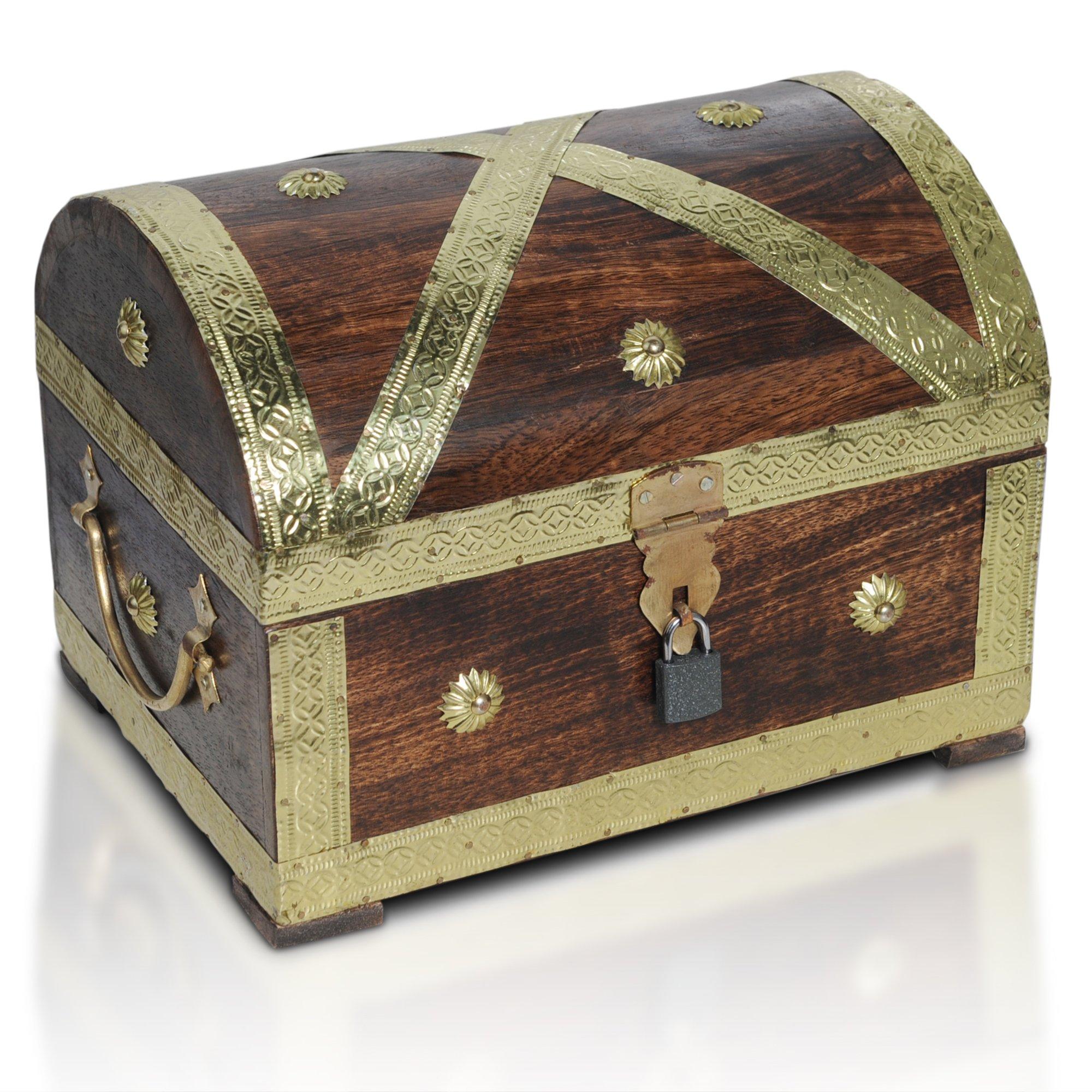 Brynnberg Caja de Madera Cofre del Tesoro Pirata de Estilo Vintage | Hecha a Mano |