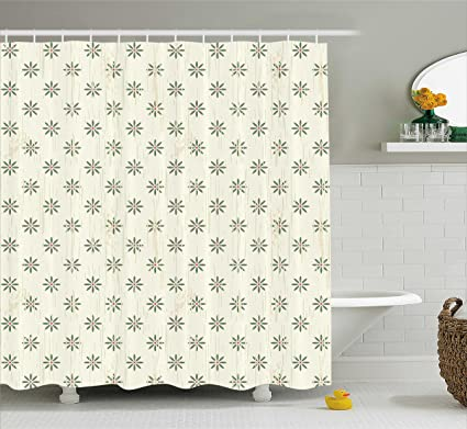 Ivory Shower Curtain By Ambesonne Abstract Backdrop With Spring Summer Farm Life Garden Hand Drawn