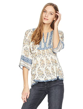dfd048e616a51 Lucky Brand Women s Mixed Print Peasant Top at Amazon Women s Clothing store