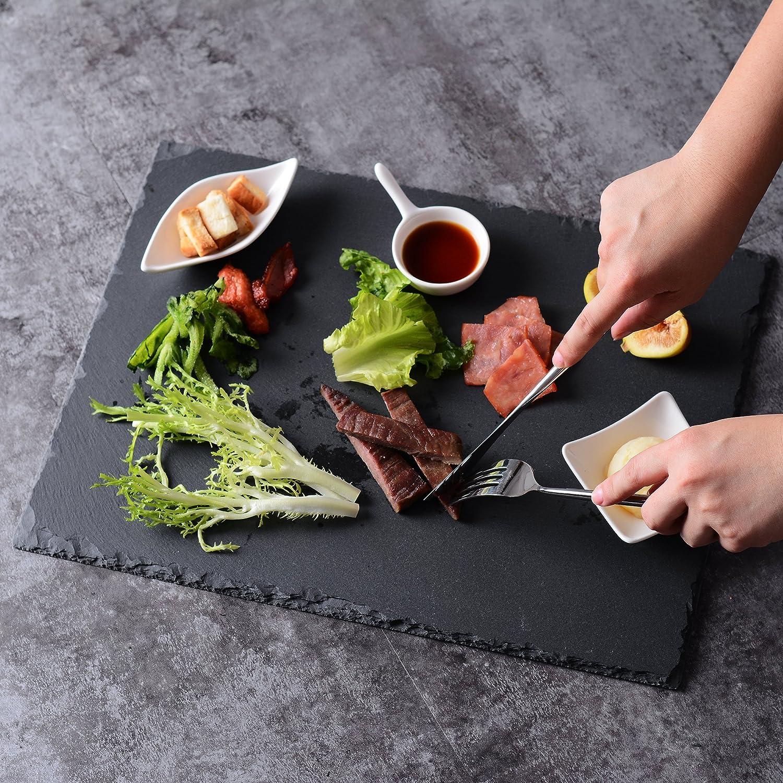 MALACASA, Serie Nature.Slate, 4Piezas Set Pizarra Quesera 40x 30cm 16Pulgadas Pizarra–Bandeja Buffet Placa