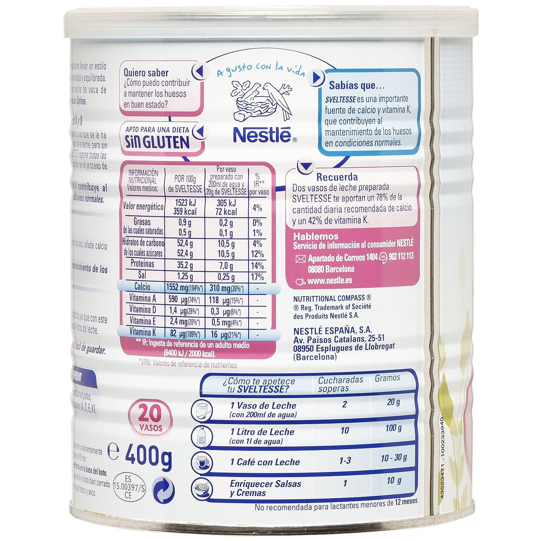 Nestlé Sveltesse - Leche desnatada en Polvo - Bote 12 x 400 g: Amazon.es: Alimentación y bebidas