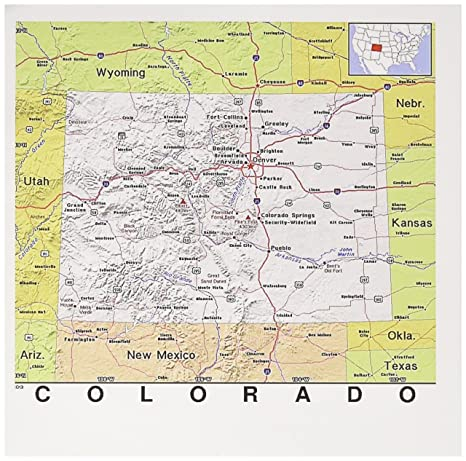 3dRose Print of Colorado Cities and State Map, Greeting ...