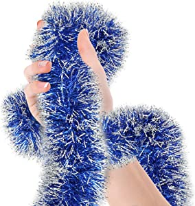 Christmas Tree Royal Blue Frost Tip Tinsel Garland Metallic Streamers Celebrate a Holiday Hanukkah Party Happy New Year Party Ceiling Hanging Decorations Indoor and Outdoor Disco Party Supplies
